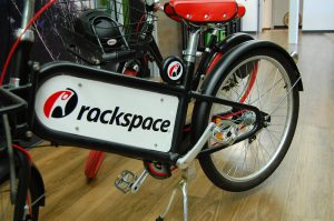 Bike with Rackspace logo for employees to ride around the Virginia Tech Corporate Research Center
