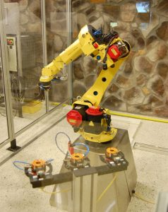 Robotic manufacturing arm at New River Community College in Pulaski County, Virginia