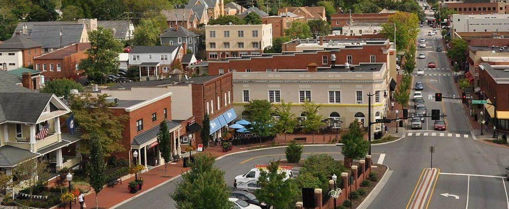 Aerial of Downtown Blacksburg, Virgnia