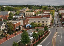 Aerial of Downtown Blacksburg, Virgnia