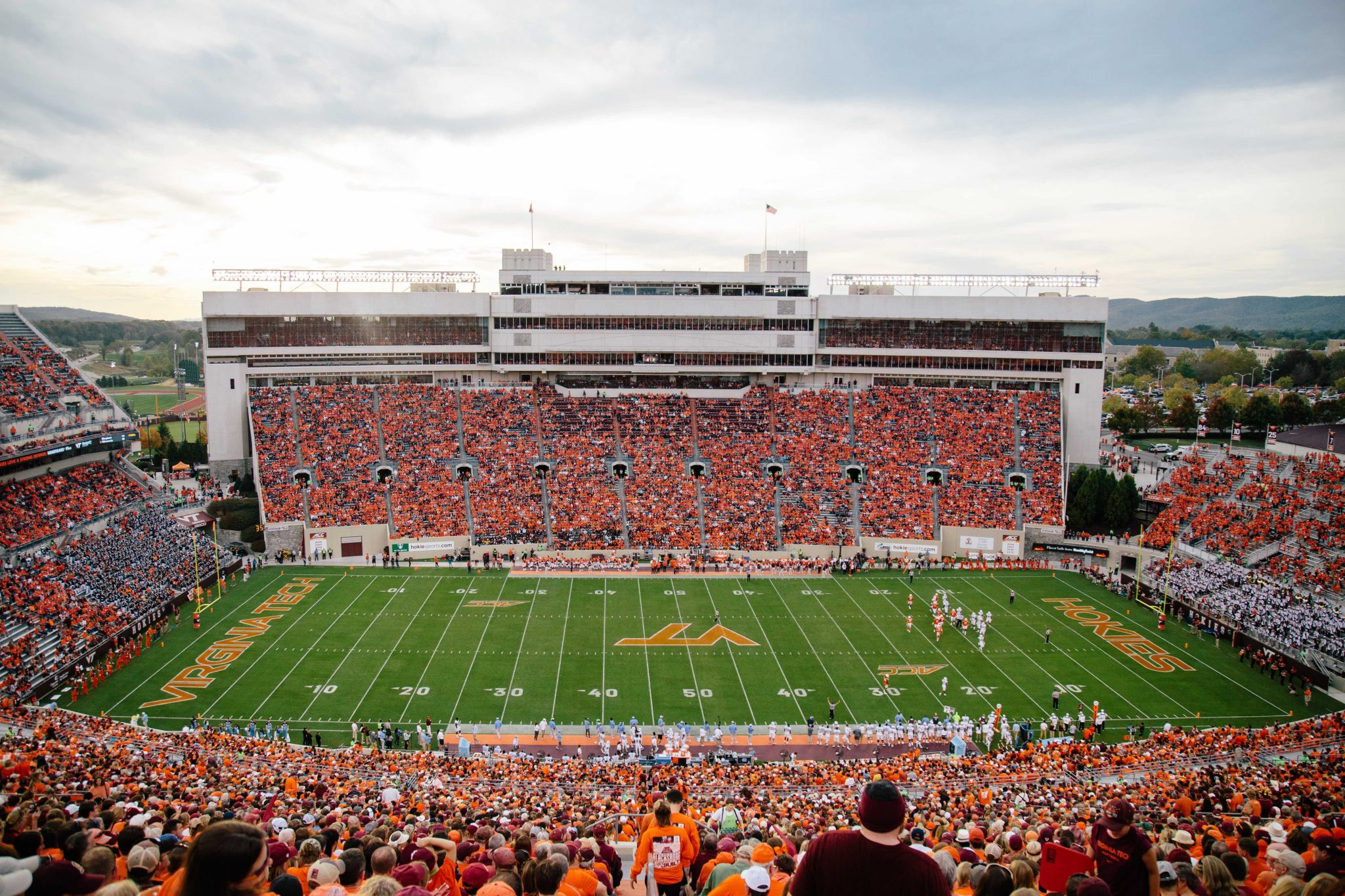 Photos of the crowd at Lane Stadium, the largest stadium in va, from the 2017 Homecoming Game against the University of North Carolina Tarheels.