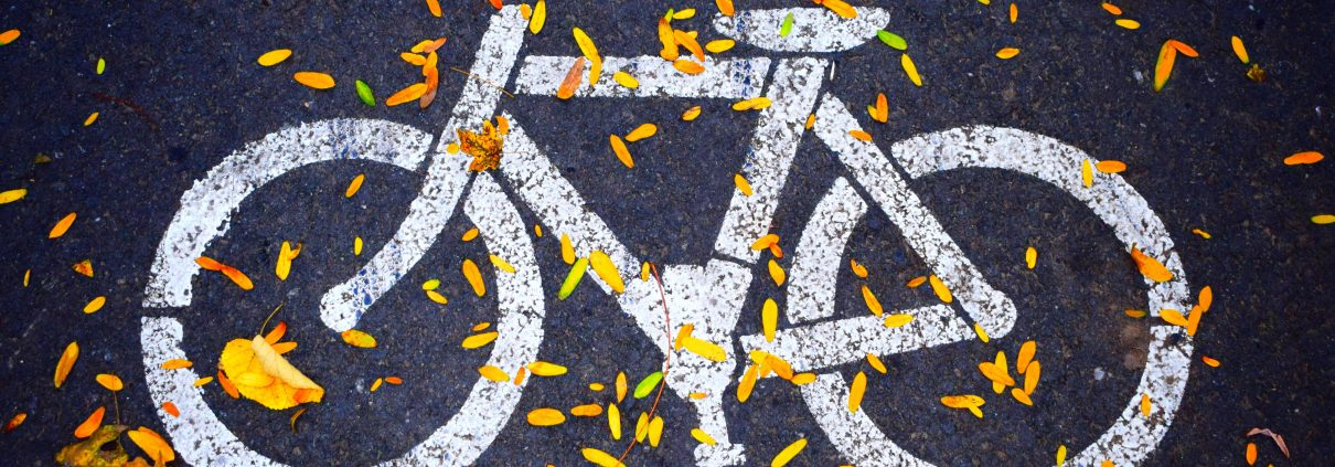 Bikeshare NRV, NRV Bikeshare program coming to the New River Valley, painted bike logo on a side walk with fall leaves