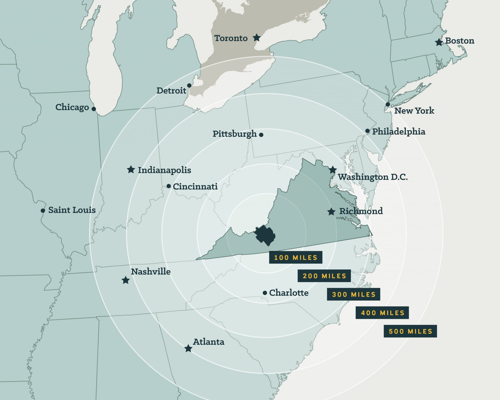 NRV Map Distance to East Coast