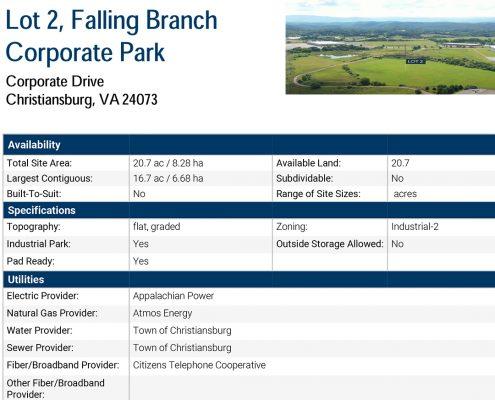 Falling Branch Corporate Park, Lot 2 Data Sheet
