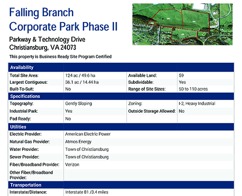 Falling Branch Corporate Park Phase II Data Sheet