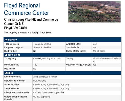 Floyd Regional Commerce Center Data Sheet Thumbnail