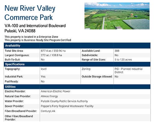 NRV Commerce Park Data Sheet