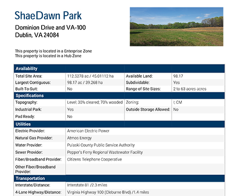 ShaeDawn Park Data Sheet